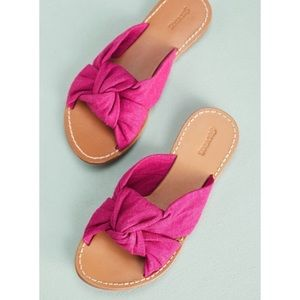 Soludos Knotted Slide Sandal Pink Woven Fabric
